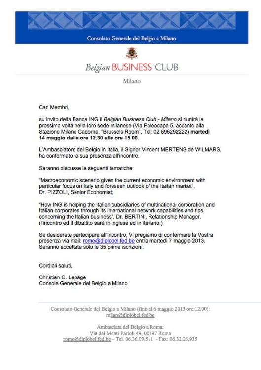 invito Belgian business Club 14.05.2013