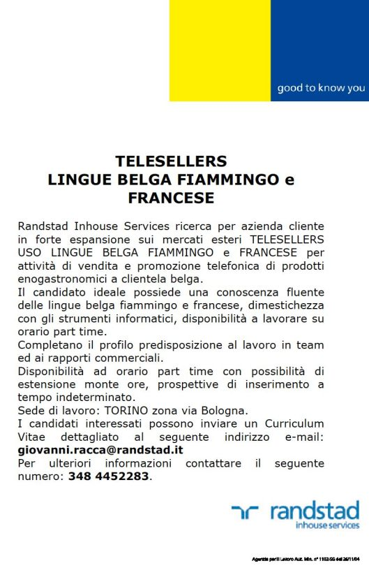 LOCANDINA TELESELLERS BELGA FIAMMINGO FRANCESE
