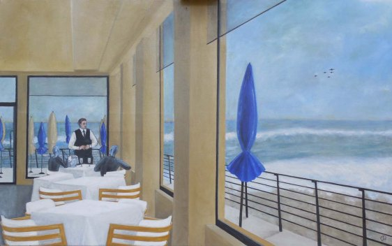 MARIE-LAURE van HISSENHOVEN Ostia beach, tempera grassa su tela di lino, cm. 81×130, 2013.72 dp